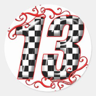 el competir con auto número 13 pegatina redonda