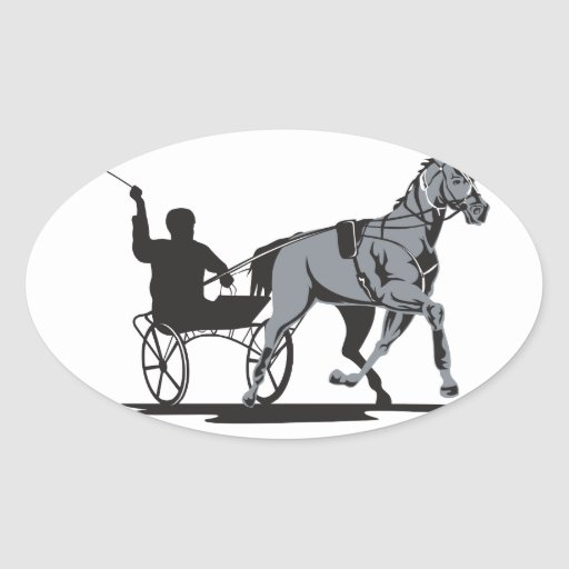 El competir con de arnés del caballo y del jinete calcomanía ovaladas personalizadas