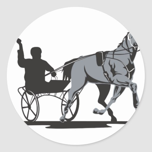 El competir con de arnés del caballo y del jinete etiquetas redondas