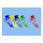 El competir con de camino de la bici del camino co tarjeta de felicitación