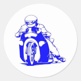 El competir con de la fricción de la motocicleta pegatinas redondas