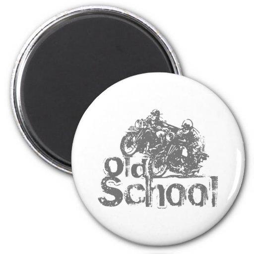 El competir con de la motocicleta de la escuela vi imán redondo 5 cm