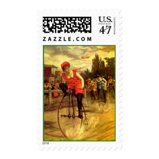 El competir con de la raza de la bici de la sello postal