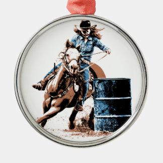 El competir con del barril adorno navideño redondo de metal