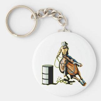 El competir con del barril del caballo llaveros personalizados