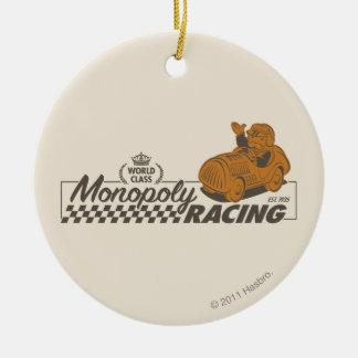 El competir con del monopolio adorno navideño redondo de cerámica