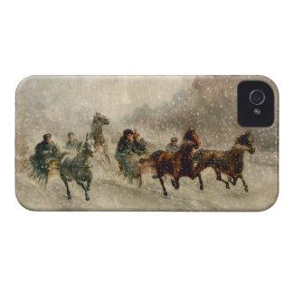 El competir con del trineo de la nieve del vintage iPhone 4 protectores