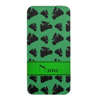 El competir con negro verde conocido personalizado funda acolchada para móvil