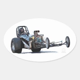 El competir con y vintage Dragsters de la fricción Pegatina Ovalada
