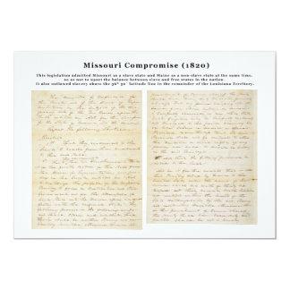 """El compromiso de Missouri (1820) Invitación 5"""" X 7"""""""
