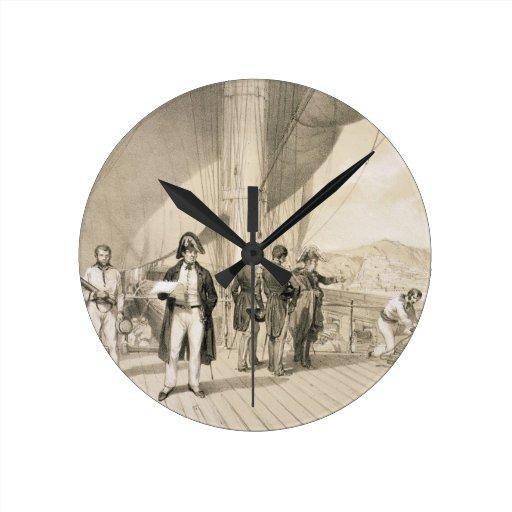 El Comte de Bourmont y almirante Duperre a bordo Relojes De Pared