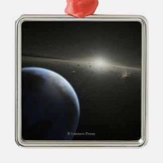 El concepto del artista de una fotografía astroide adorno cuadrado plateado