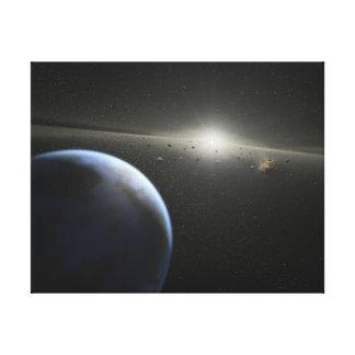 El concepto del artista de una fotografía astroide impresión en lienzo estirada