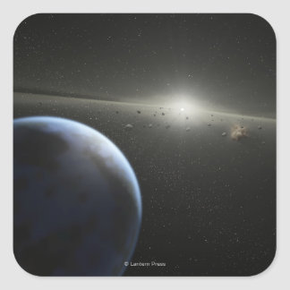 El concepto del artista de una fotografía astroide pegatina cuadrada