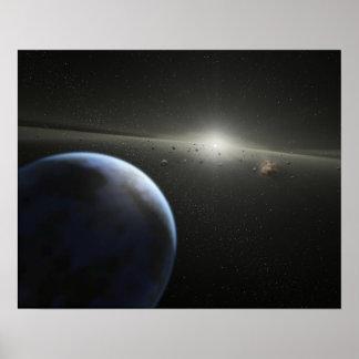 El concepto del artista de una fotografía astroide póster