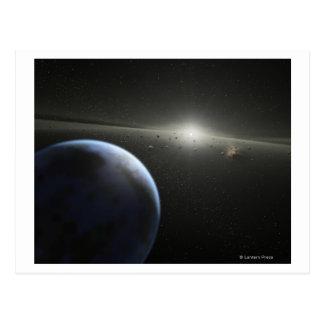 El concepto del artista de una fotografía astroide postal