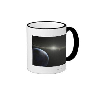 El concepto del artista de una fotografía astroide tazas de café