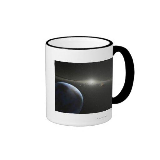 El concepto del artista de una fotografía astroide taza de dos colores