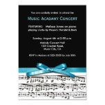 El concierto blanco y negro azul del decreto de la invitación 12,7 x 17,8 cm