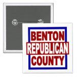 """El condado de Benton Repubican 2"""" x 2"""" botón cuadr Pins"""