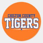 El condado de Chilton; Tigres Etiquetas Redondas