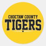 El condado de Choctaw; Tigres Pegatina Redonda