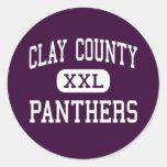 El condado de Clay - panteras - alto - Ashland Etiqueta Redonda