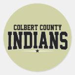 El condado de Colbert; Indios Etiquetas Redondas