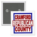 """El condado de Crawford Repubican 2"""" x 2"""" botón cua Pins"""