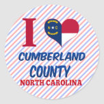 El condado de Cumberland, Carolina del Norte Pegatina Redonda