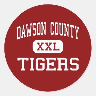El condado de Dawson - tigres - centro - Pegatina Redonda