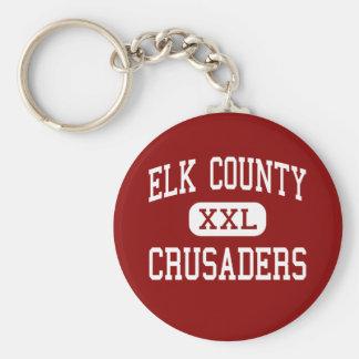 El condado de Elk - cruzados - católico - santo Ma Llavero Redondo Tipo Pin