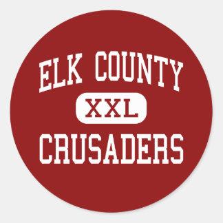 El condado de Elk - cruzados - católico - santo Pegatina Redonda