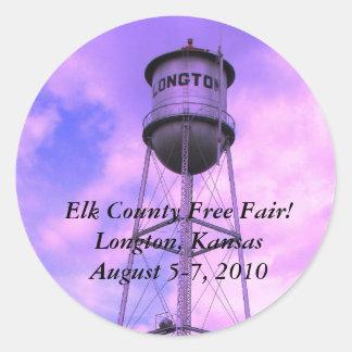 ¡El condado de Elk libera favorablemente! Longton, Pegatina Redonda