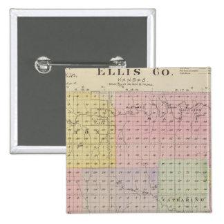 El condado de Ellis, Kansas Pin Cuadrada 5 Cm