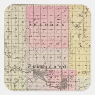El condado de Ellsworth, Kansas Pegatina Cuadrada