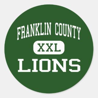 El condado de Franklin - leones - alto - Pegatina Redonda