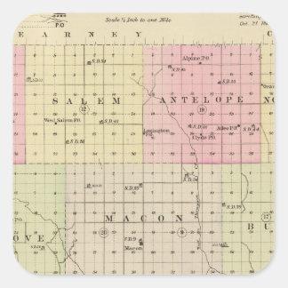 El condado de Franklin, Nebraska Pegatinas Cuadradas Personalizadas