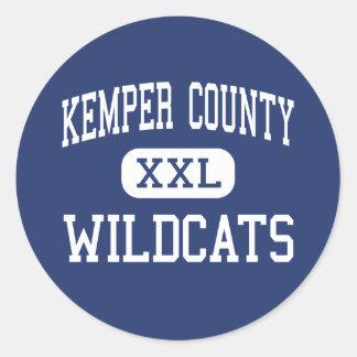 El condado de Kemper - gatos monteses - alto - De Pegatina Redonda
