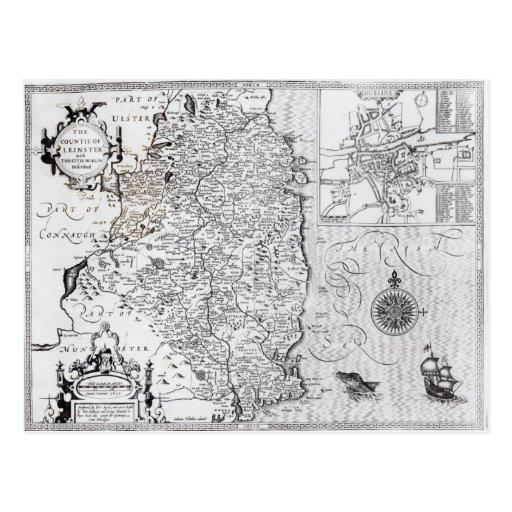 El condado de Leinster con la ciudad de Dublín Postal