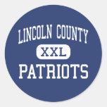El condado de Lincoln - patriotas - alto - Pegatina Redonda