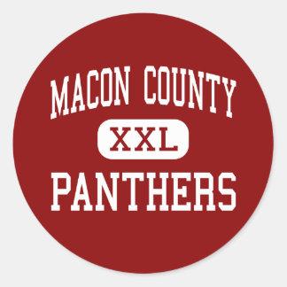 El condado de Macon - panteras - centro - Franklin Pegatinas Redondas
