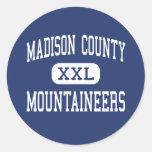 El condado de Madison - montañeses - alto - Pegatina Redonda
