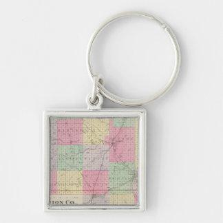 El condado de Marion, Hillsboro, Lehigh, Kansas Llavero Cuadrado Plateado
