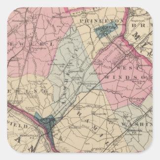 El condado de Mercer, NJ Pegatina Cuadrada
