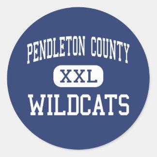 El condado de Pendleton - gatos monteses - centro Pegatinas Redondas