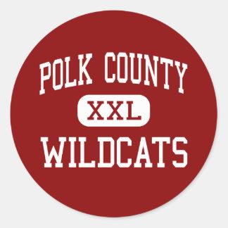 El condado de Polk - gatos monteses - alto - Pegatina Redonda