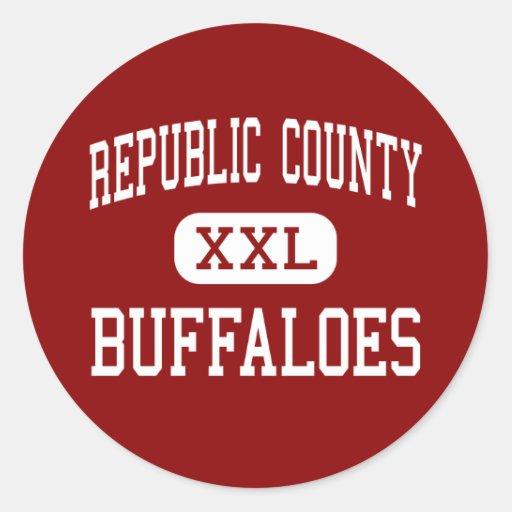 El condado de Republic - búfalos - centro - Pegatina Redonda