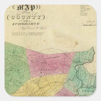 El condado de Schoharie Calcomania Cuadradas Personalizada