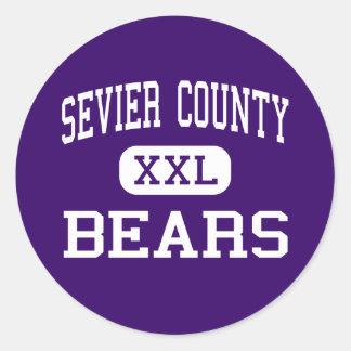 El condado de Sevier - osos - alto - Sevierville Pegatina Redonda